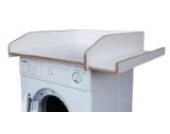 Wickeltischaufsatz weiß mit seitlicher Ablagefläche, aus echtem Birkenholz, Wickelfläche 60x70cm, Wickelauflage, Wickelkommode, Aufsatz für Waschmaschine oder Trockner