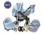 Sportive X2-3 in 1 Reisesystem einschließlich Kinderwagen mit schwenkbaren Rädern, Kinderautositz, Buggy und Zubehör (3 in 1 Reisesystem, Grau, Blau)
