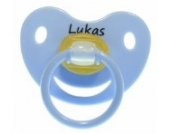 3 Stk. Namensschnuller LUKAS / Größe 1 (0-6 Monate) / Kieferform / Latex / farblich sortiert (hellblau / grün / blau)