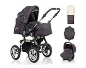 18 teiliges Qualitäts-Kinderwagenset 5 in 1 CITY DRIVER: Kinderwagen + Buggy + Autokindersitz + Schirm + Winter-Fussack - Megaset - all inclusive Paket in Farbe ANTHRAZITE-GRÜN-DEKOR