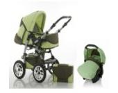 """15 teiliges Qualitäts-Kinderwagenset 3 in 1 """"FLASH"""": Kinderwagen + Buggy + Autokindersitz – all inklusive Paket in Farbe PISTAZIE-OLIVE"""