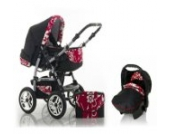 "15 teiliges Qualitäts-Kinderwagenset 3 in 1 ""FLASH"": Kinderwagen + Buggy + Autokindersitz – all inklusive Paket in Farbe SCHWARZ-PEARL"