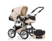 "14 teiliges Qualitäts-Kinderwagenset 2 in 1 ""FLASH"": Kinderwagen + Buggy - Megaset – all inklusive Paket in Farbe SAND-SCHWARZ"