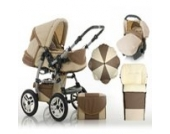 "17 teiliges Qualitäts-Kinderwagenset 5 in 1 ""FLASH"": Kinderwagen + Buggy + Autokindersitz + Schirm + Winterfussack – all inklusive Paket in Farbe SAND-MOCCA"