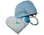 Geschenkeset 3 Klassiker hellblau, Taufgeschenke Jungen, Babygeschenke mit Namen, Babyhaube mit Schnullerkette und Körnerkissen Herz, personalisiert