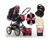 "17 teiliges Qualitäts-Kinderwagenset 5 in 1 ""FLASH"": Kinderwagen + Buggy + Autokindersitz + Schirm + Winterfussack – all inklusive Paket in Farbe SCHWARZ-PEARL"