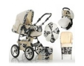 "17 teiliges Qualitäts-Kinderwagenset 5 in 1 ""FLASH"": Kinderwagen + Buggy + Autokindersitz + Schirm + Winterfussack – all inklusive Paket in Farbe BLACK-DAISY"