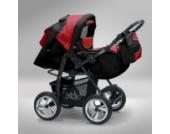 Akjax Piko 3in1 - Kombikinderwagen - Kinderwagen - Buggy - Babyschale - mit Sonnenschirm & chrom Rad Farbe Nr.38 schwarz / rot