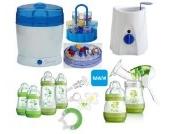 MAM Set 9 - Startset - Flaschen Sterilisator Babykoster Milchpumpe 25 teilig - Grün + gratis Schmusetuch Löwe Leo