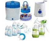 MAM Set 9 - Startset - Flaschen Sterilisator Babykoster Milchpumpe - Blau + gratis Geschenk