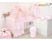 7tlg. Babybettwäsche Set, sort, 135x100cm rosa